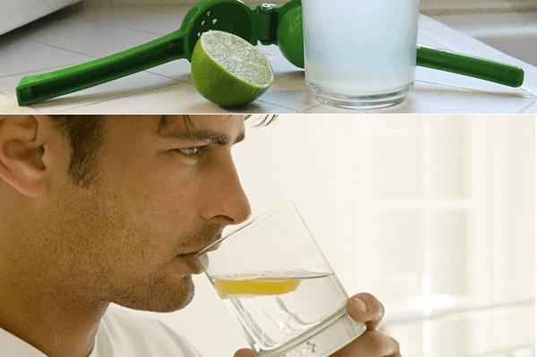 Vaso de agua con limón para alcalinizar